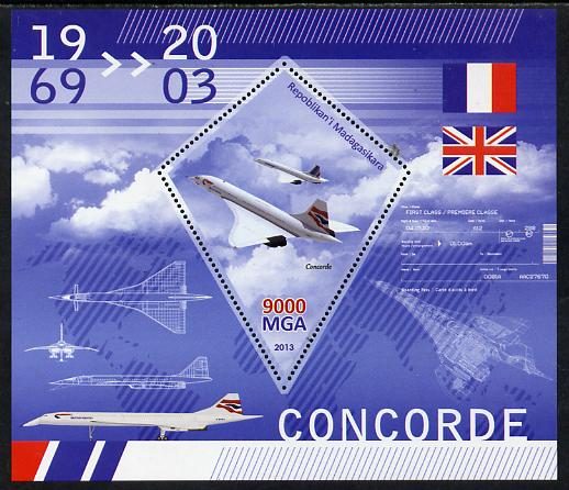 Madagascar 2013 Concorde perf deluxe sheet containing one diamond shaped value unmounted mint