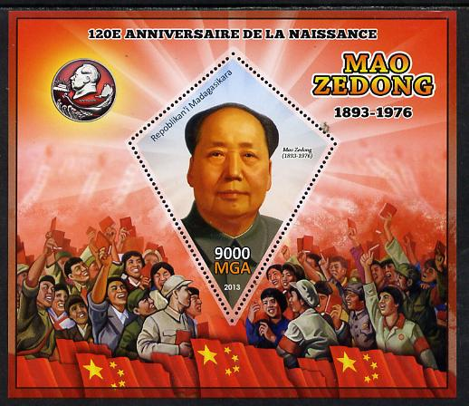 Madagascar 2013 Mao Tse-Tung perf deluxe sheet containing one diamond shaped value unmounted mint