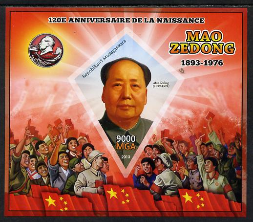 Madagascar 2013 Mao Tse-Tung imperf deluxe sheet containing one diamond shaped value unmounted mint