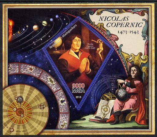 Madagascar 2013 Nicolaus Copernicus perf deluxe sheet containing one diamond shaped value unmounted mint
