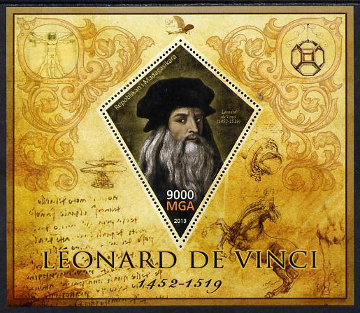 Madagascar 2013 Leonardo da Vinci perf deluxe sheet containing one diamond shaped value unmounted mint