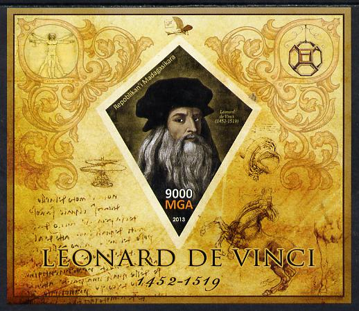 Madagascar 2013 Leonardo da Vinci imperf deluxe sheet containing one diamond shaped value unmounted mint