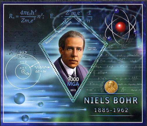 Madagascar 2013 Niels Bohr (physicist) perf deluxe sheet containing one diamond shaped value unmounted mint