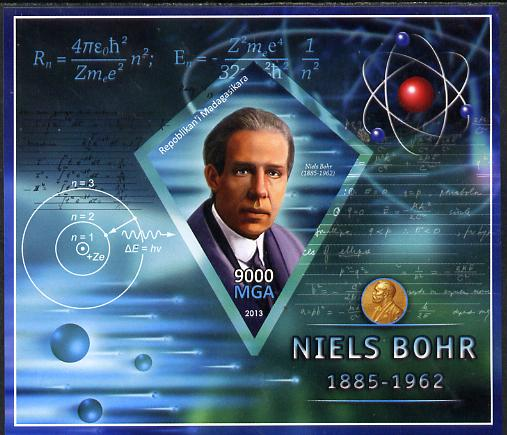 Madagascar 2013 Niels Bohr (physicist) imperf deluxe sheet containing one diamond shaped value unmounted mint
