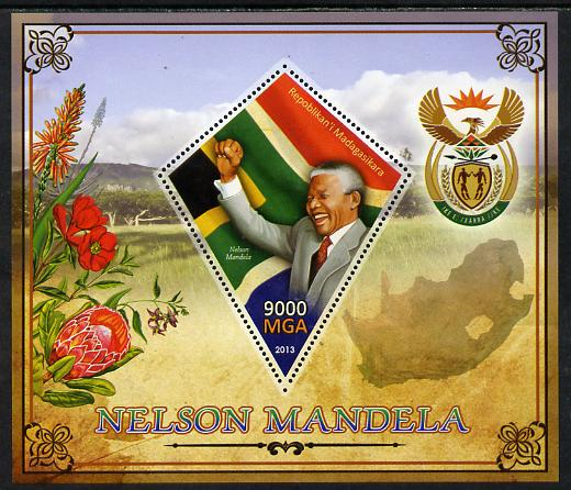 Madagascar 2013 Nelson Mandela perf deluxe sheet containing one diamond shaped value unmounted mint