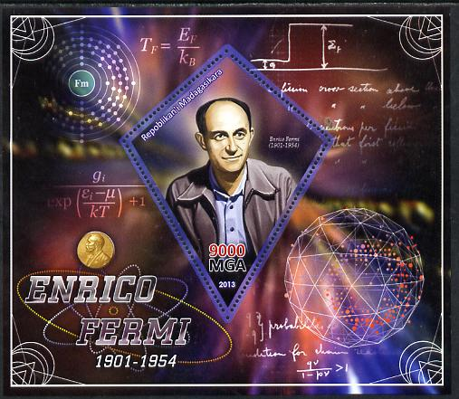 Madagascar 2013 Enrico Fermi (physicist) perf deluxe sheet containing one diamond shaped value unmounted mint