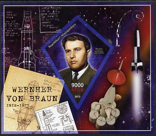 Madagascar 2013 Wernher von Braun (rocket engineer) imperf deluxe sheet containing one diamond shaped value unmounted mint