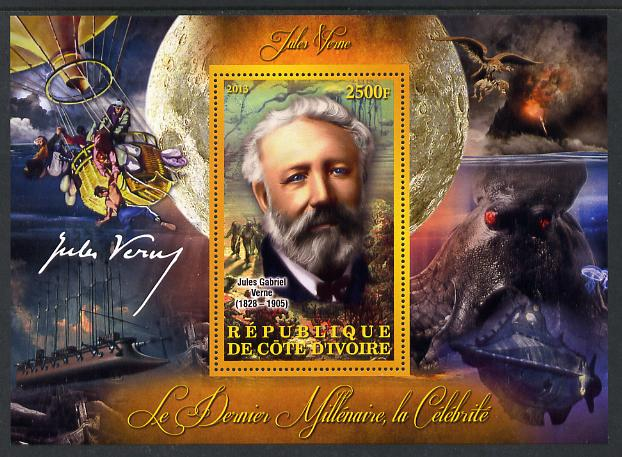 Ivory Coast 2013 Celebrities of the last Millennium - Jules Verne perf deluxe sheet containing one rectangular value unmounted mint