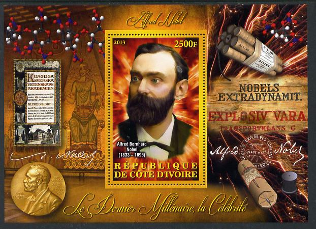 Ivory Coast 2013 Celebrities of the last Millennium - Alfred Nobel perf deluxe sheet containing one rectangular value unmounted mint