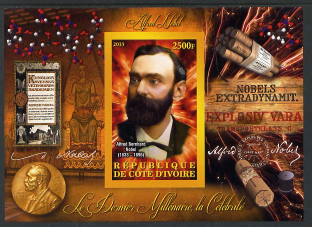 Ivory Coast 2013 Celebrities of the last Millennium - Alfred Nobel imperf deluxe sheet containing one rectangular value unmounted mint