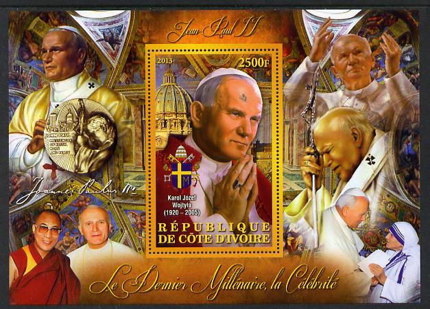 Ivory Coast 2013 Celebrities of the last Millennium - Pope John Paul II perf deluxe sheet containing one rectangular value unmounted mint