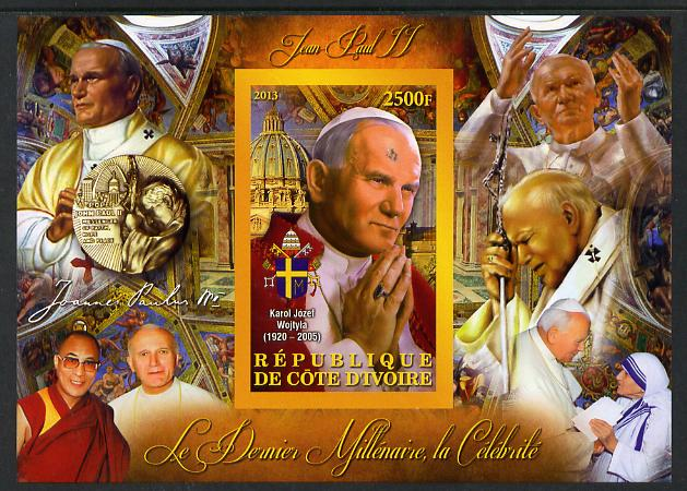 Ivory Coast 2013 Celebrities of the last Millennium - Pope John Paul II imperf deluxe sheet containing one rectangular value unmounted mint