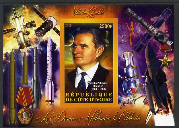 Ivory Coast 2013 Celebrities of the last Millennium - Valentin Glouchko (rocket engineer) imperf deluxe sheet containing one rectangular value unmounted mint