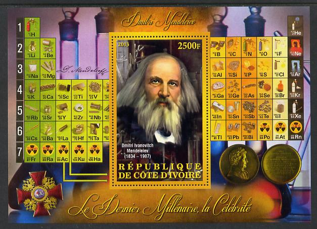 Ivory Coast 2013 Celebrities of the last Millennium - Dmitri Mendeleiev (chemist) perf deluxe sheet containing one rectangular value unmounted mint