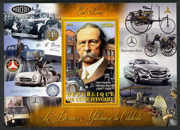 Ivory Coast 2013 Celebrities of the last Millennium - Karl Benz perf deluxe sheet containing one rectangular value unmounted mint