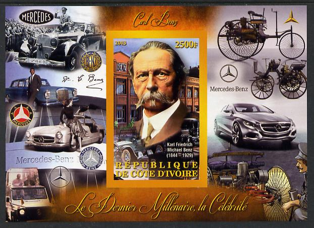 Ivory Coast 2013 Celebrities of the last Millennium - Karl Benz imperf deluxe sheet containing one rectangular value unmounted mint