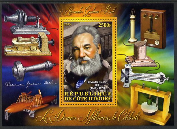 Ivory Coast 2013 Celebrities of the last Millennium - Alexander Graham Bell perf deluxe sheet containing one rectangular value unmounted mint