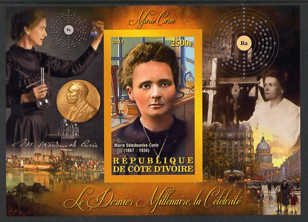 Ivory Coast 2013 Celebrities of the last Millennium - Marie Curie imperf deluxe sheet containing one rectangular value unmounted mint