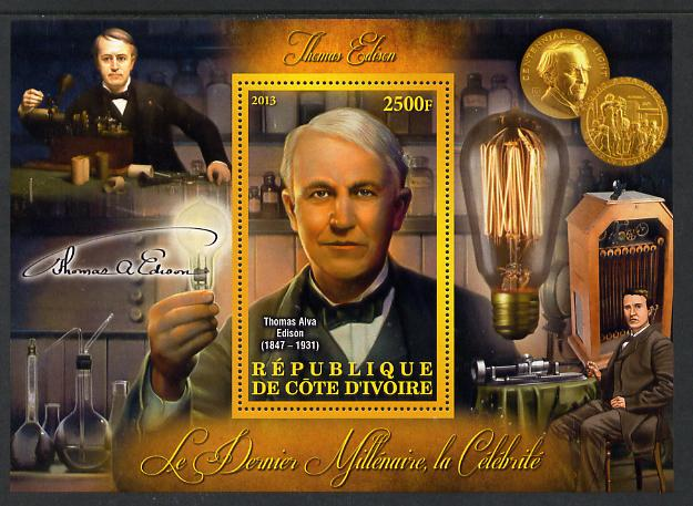 Ivory Coast 2013 Celebrities of the last Millennium - Thomas Edison perf deluxe sheet containing one rectangular value unmounted mint