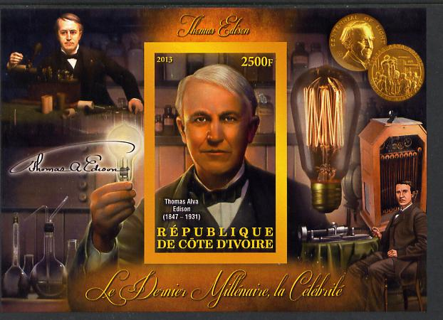Ivory Coast 2013 Celebrities of the last Millennium - Thomas Edison imperf deluxe sheet containing one rectangular value unmounted mint
