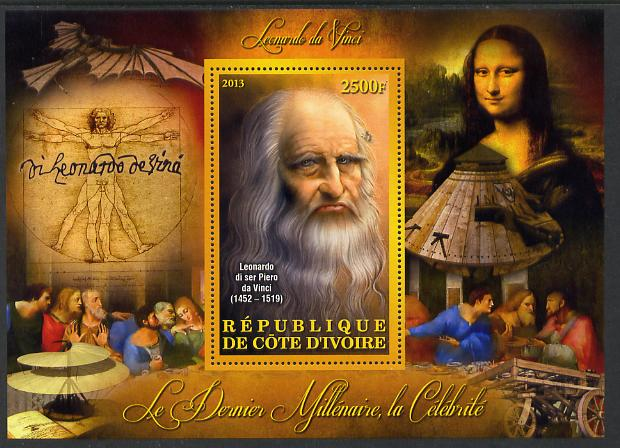 Ivory Coast 2013 Celebrities of the last Millennium - Leonardo da Vinci perf deluxe sheet containing one rectangular value unmounted mint