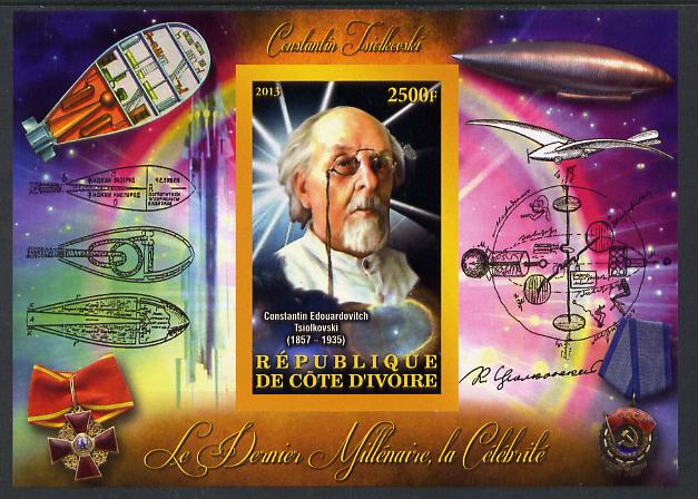 Ivory Coast 2013 Celebrities of the last Millennium - Konstantin Tsiolkovsky (rocket engineer) imperf deluxe sheet containing one rectangular value unmounted mint