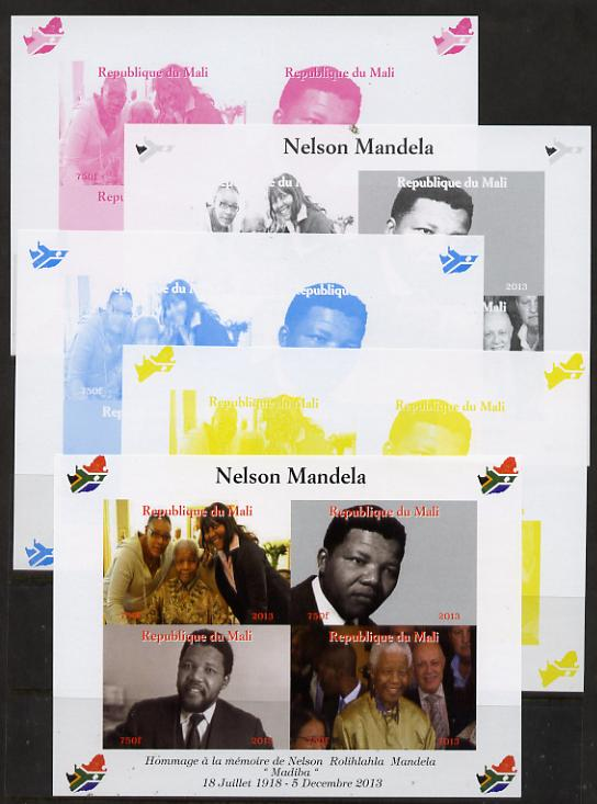 Mali 2013 Nelson Mandela #2 sheetlet containing four values - the set of 5 imperf progressive colour proofs comprising the 4 basic colours plus all 4-colour composite unmounted mint with Map shaped Flag of South Africa in border