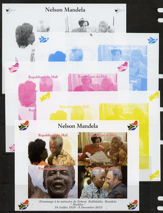 Mali 2013 Nelson Mandela #3 sheetlet containing four values - the set of 5 imperf progressive colour proofs comprising the 4 basic colours plus all 4-colour composite unmounted mint with Map shaped Flag of South Africa in border