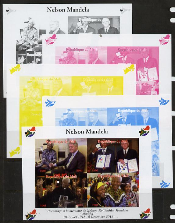 Mali 2013 Nelson Mandela #4 sheetlet containing four values - the set of 5 imperf progressive colour proofs comprising the 4 basic colours plus all 4-colour composite unmounted mint with Map shaped Flag of South Africa in border
