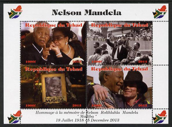 Chad 2013 Nelson Mandela #1 perf sheetlet containing four values unmounted mint. Note this item is privately produced and is offered purely on its thematic appeal. with M...