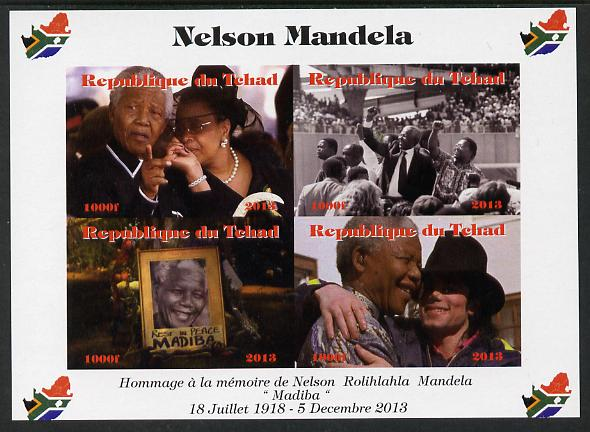 Chad 2013 Nelson Mandela #1 imperf sheetlet containing four values unmounted mint. Note this item is privately produced and is offered purely on its thematic appeal. with...