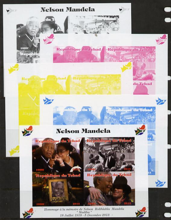 Chad 2013 Nelson Mandela #1 sheetlet containing four values - the set of 5 imperf progressive colour proofs comprising the 4 basic colours plus all 4-colour composite unmounted mint with Map shaped Flag of South Africa in border