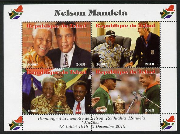 Chad 2013 Nelson Mandela #2 perf sheetlet containing four values unmounted mint. Note this item is privately produced and is offered purely on its thematic appeal. with Map shaped Flag of South Africa in border