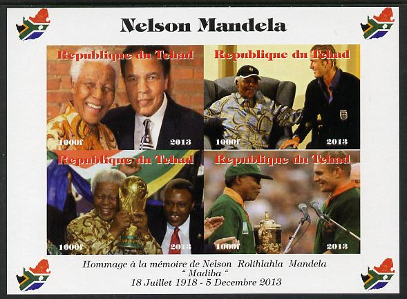 Chad 2013 Nelson Mandela #2 imperf sheetlet containing four values unmounted mint. Note this item is privately produced and is offered purely on its thematic appeal. with Map shaped Flag of South Africa in border