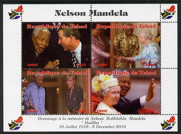 Chad 2013 Nelson Mandela #3 perf sheetlet containing four values unmounted mint. Note this item is privately produced and is offered purely on its thematic appeal. with Map shaped Flag of South Africa in border