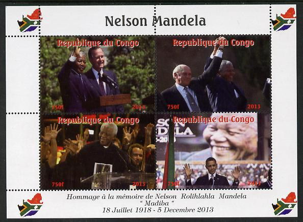 Congo 2013 Nelson Mandela #2 perf sheetlet containing four values unmounted mint. Note this item is privately produced and is offered purely on its thematic appeal with Map shaped Flag of South Africa in border