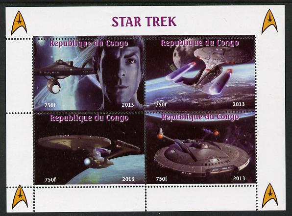 Congo 2013 Star Trek #1 perf sheetlet containing four values unmounted mint. Note this item is privately produced and is offered purely on its thematic appeal