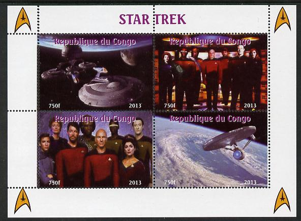 Congo 2013 Star Trek #2 perf sheetlet containing four values unmounted mint. Note this item is privately produced and is offered purely on its thematic appeal