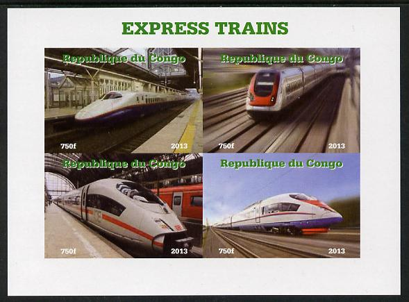 Congo 2013 Express Trains #1 imperf sheetlet containing four values unmounted mint. Note this item is privately produced and is offered purely on its thematic appeal