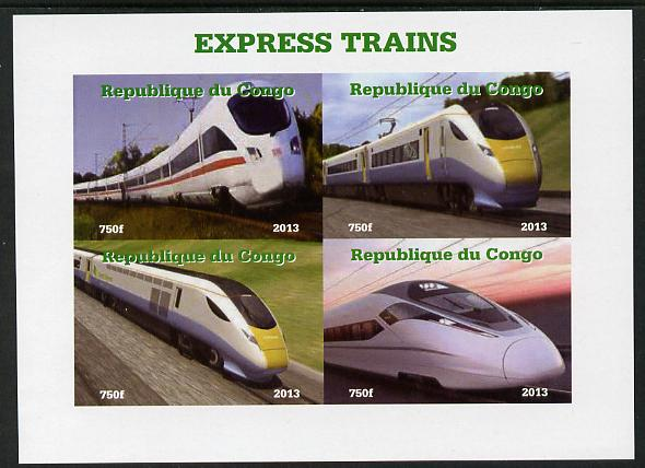 Congo 2013 Express Trains #2 imperf sheetlet containing four values unmounted mint. Note this item is privately produced and is offered purely on its thematic appeal
