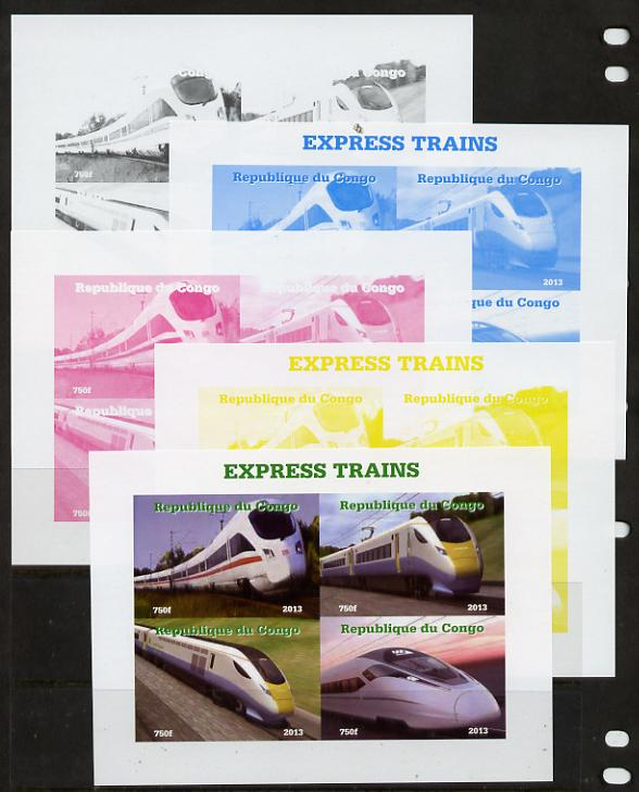 Congo 2013 Express Trains #2 sheetlet containing four values - the set of 5 imperf progressive colour proofs comprising the 4 basic colours plus all 4-colour composite unmounted mint