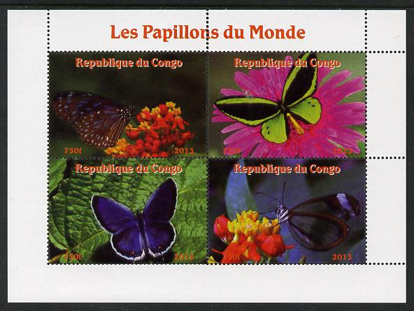 Congo 2013 Butterflies of the World #1 perf sheetlet containing four values unmounted mint. Note this item is privately produced and is offered purely on its thematic appeal