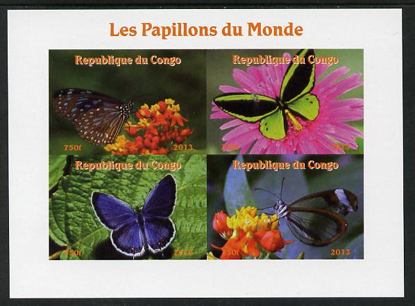 Congo 2013 Butterflies of the World #1 imperf sheetlet containing four values unmounted mint. Note this item is privately produced and is offered purely on its thematic appeal