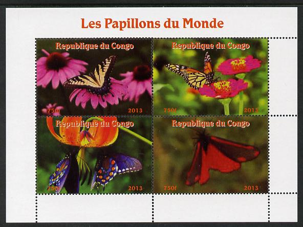 Congo 2013 Butterflies of the World #2 perf sheetlet containing four values unmounted mint. Note this item is privately produced and is offered purely on its thematic appeal
