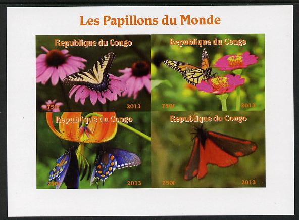 Congo 2013 Butterflies of the World #2 imperf sheetlet containing four values unmounted mint. Note this item is privately produced and is offered purely on its thematic appeal