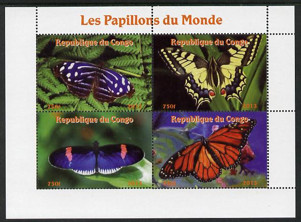 Congo 2013 Butterflies of the World #3 perf sheetlet containing four values unmounted mint. Note this item is privately produced and is offered purely on its thematic appeal