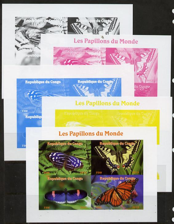 Congo 2013 Butterflies of the World #3 sheetlet containing four values - the set of 5 imperf progressive colour proofs comprising the 4 basic colours plus all 4-colour composite unmounted mint
