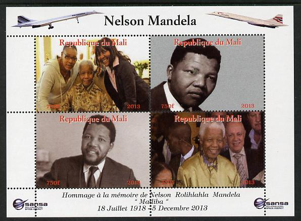 Mali 2013 Nelson Mandela #5 perf sheetlet containing four values unmounted mint. Note this item is privately produced and is offered purely on its thematic appeal with Concorde in border