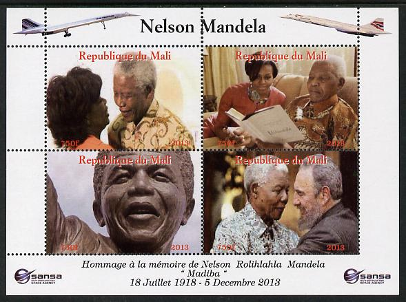 Mali 2013 Nelson Mandela #6 perf sheetlet containing four values unmounted mint. Note this item is privately produced and is offered purely on its thematic appeal with concorde in border