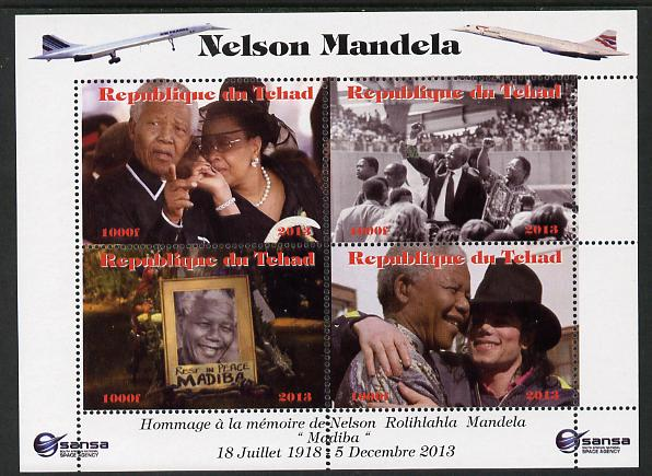 Chad 2013 Nelson Mandela #4 perf sheetlet containing four values unmounted mint. Note this item is privately produced and is offered purely on its thematic appeal. with Concorde in border